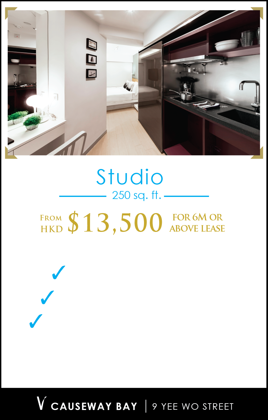 Spark Studio (230 – 430 sq. ft.) – Starting from $13,500